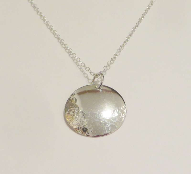 Half Hammered Disc Necklace