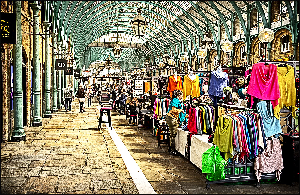 Stalls at Covent Garden Market, London