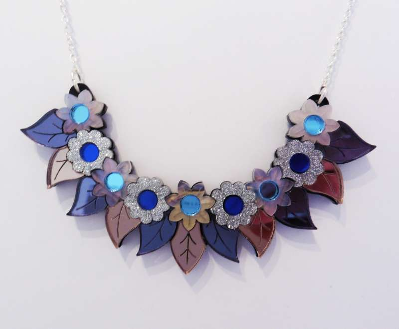 Pixie floral bib necklace- blue and mother-of-pearl