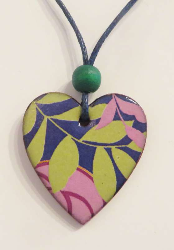 Pink and Green Leaf Pendant