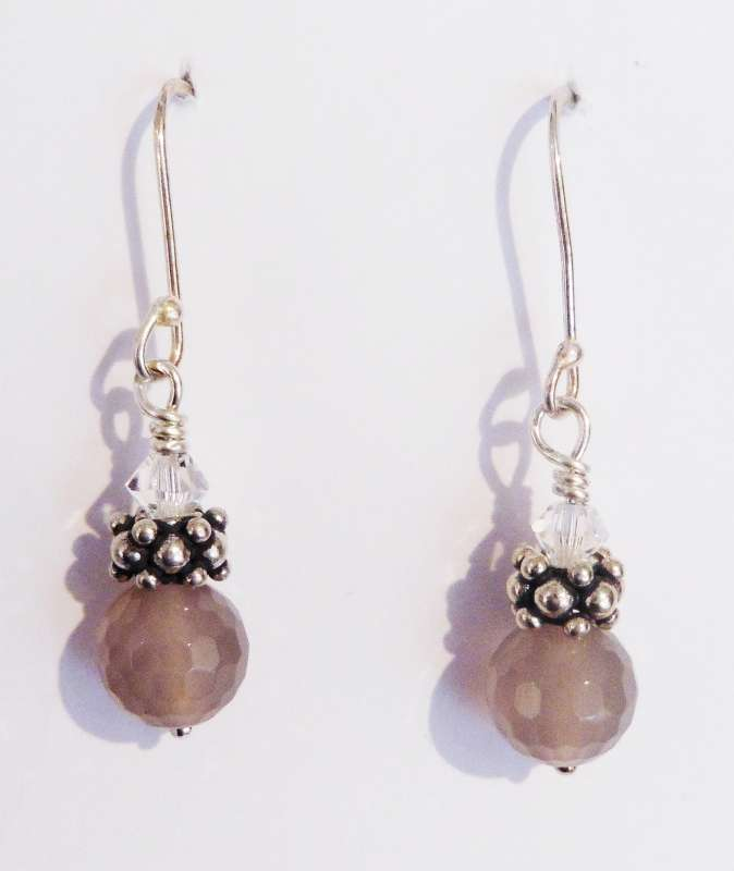 Grey Cloud Quartz, Silver and Swarovski Earrings