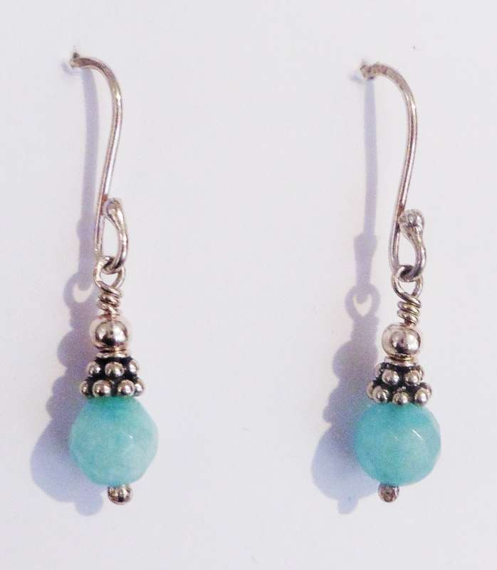 Blue Quartz and Silver Earrings