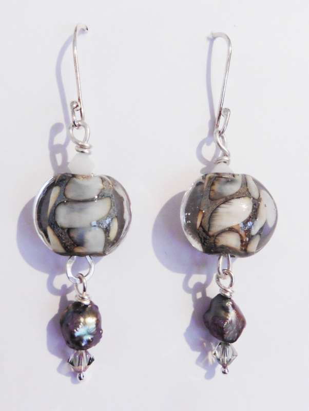 Lampwork Bead, Silver, Pearl and Swarovski Earrings