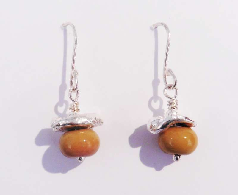 Gold Lampwork Bead and Silver Earrings