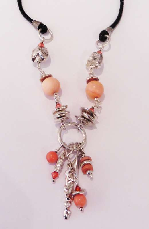 Silver and Coral Necklace on Braided Leather Cord
