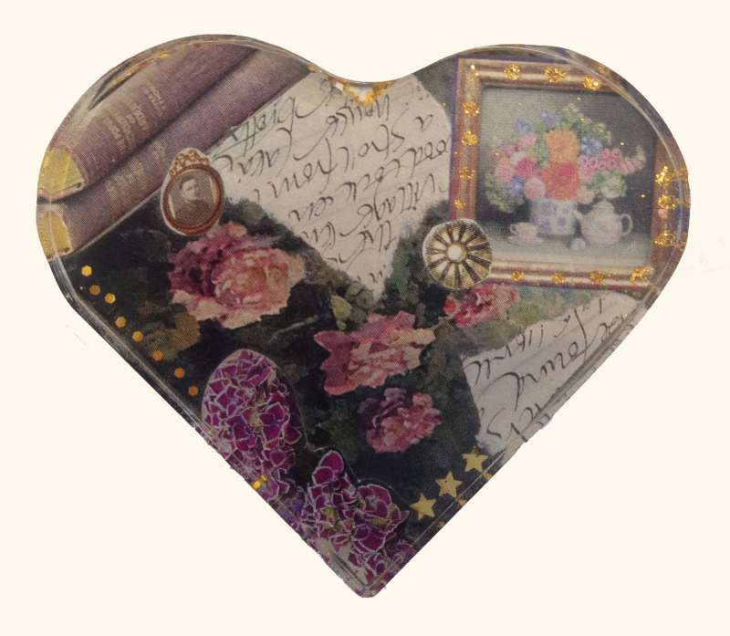Heart brooch - flowers