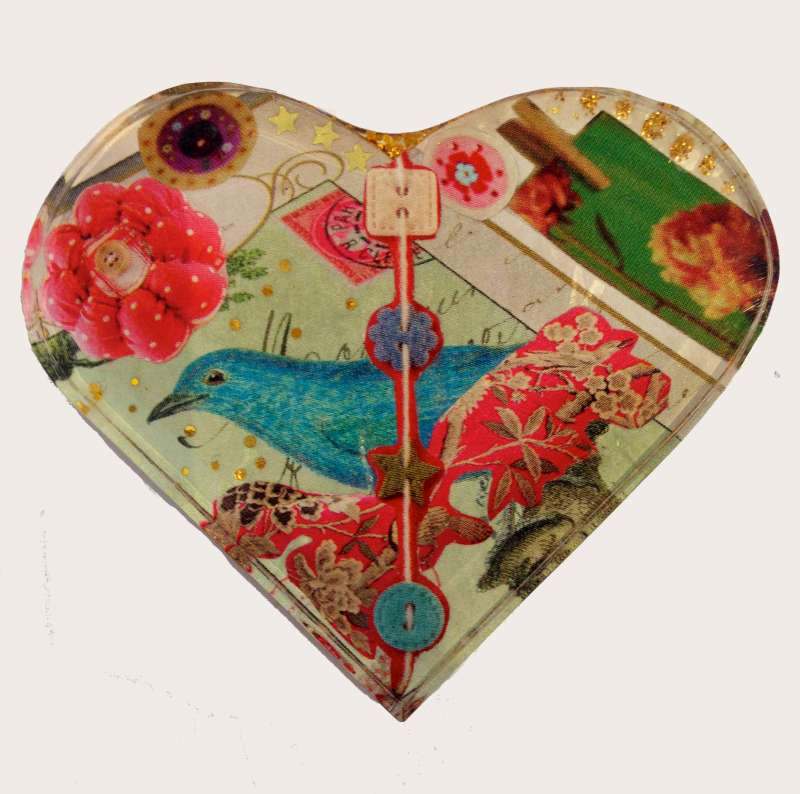 Heart brooch - bluebird