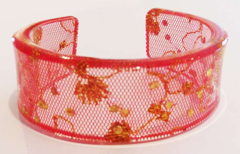 Indian lace cuff - red