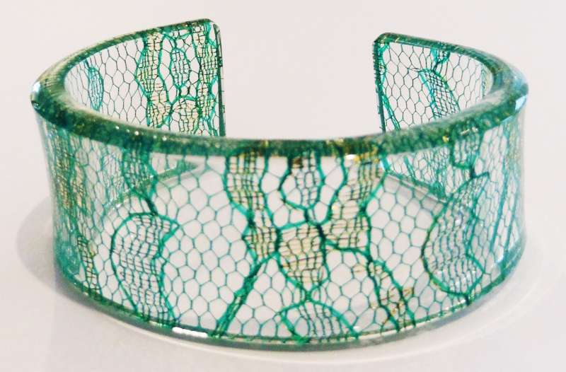 Indian lace cuff - green