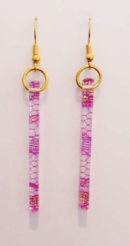 Indian lace earrings - purple