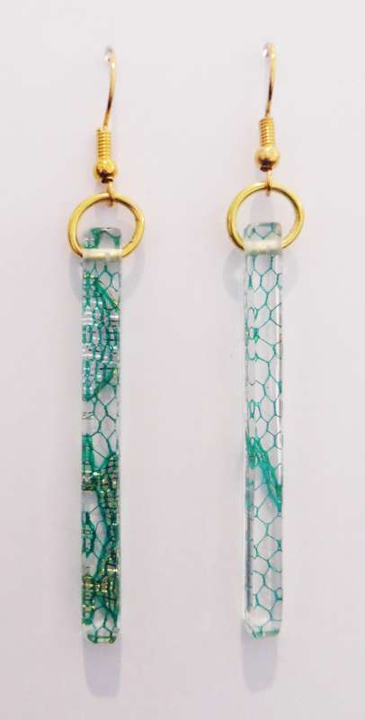 Indian lace earrings - green