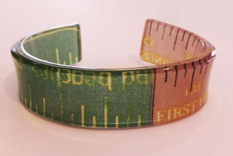 Brown and Green Tape Measure Single Cuff