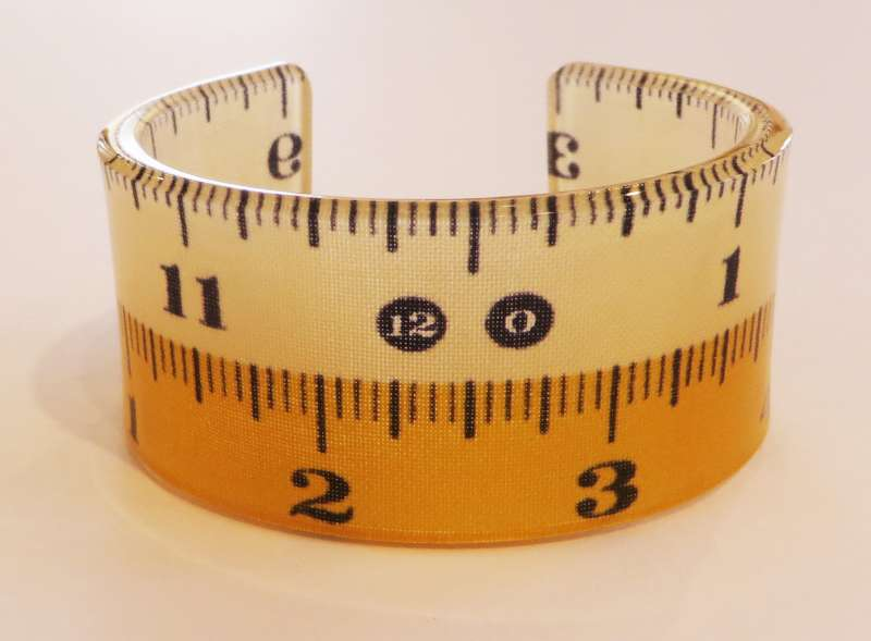 White and Yellow Tape Measure Double Cuff