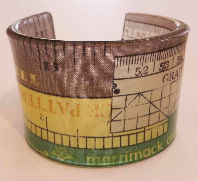 White, Brown, Yellow and Green Tape Measure Double Cuff