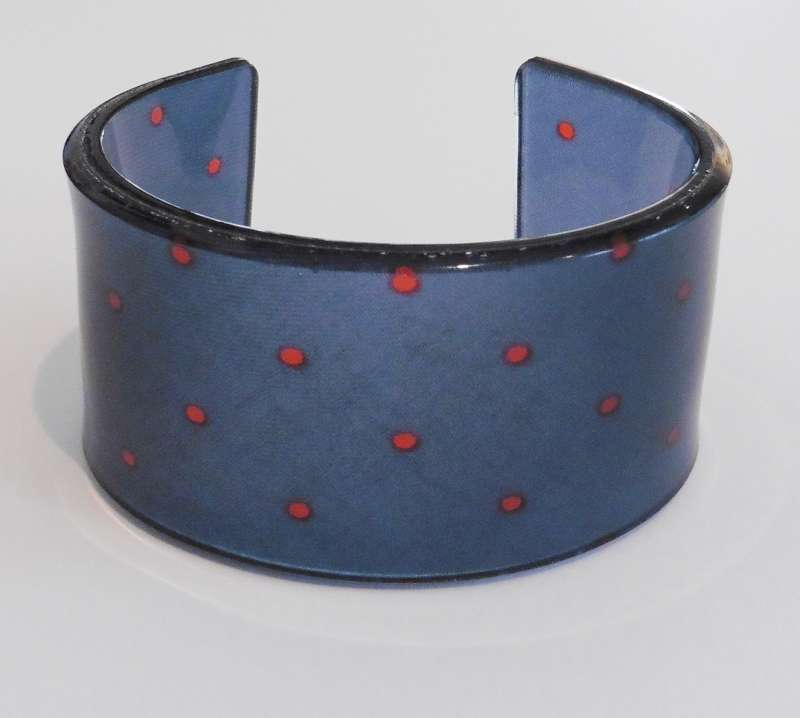 Old school tie cuff - blue with red dots